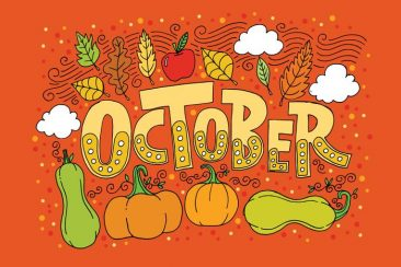 october-lettering-vector-background